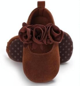 Mooie bloem baby meisje pasgeboren wieg schoenen zachte voor Looper anti-slip baby schoenen  maat: 12cm (bruin)