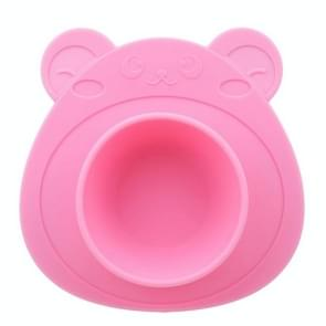 2 PCS Kids Children Baby Plate Silicone Dishes Bowl With Suction Cup Silicone Feeding Food Plate Tray(pink)