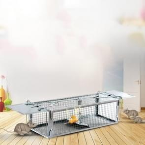 Household Mouse Cage Mousetrap met dubbele deur(Zilver)