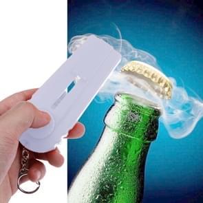 Launcher Beer Bottle Opener Shooting Flying keychain Ring(White)