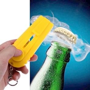 Launcher Beer Bottle Opener Shooting Flying keychain Ring(Yellow)