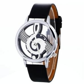 Musical Notation Shaped Dial Leather Belt Quartz Watch for Women / Men(Black)