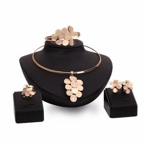 Bridal Gold Leaves Necklace Earrings Ring Bracelet Jewelry Sets