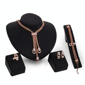 4 in 1 Fashion Gold Plated Diamond Dress Accessories Jewelry Set