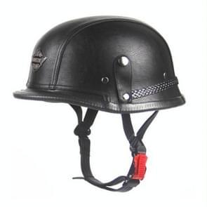 Adult Vintage Open Face Half Leather Helmet Harley Moto  Motorcycle Helmets  Motorcycle Motorbike Vespa(black)