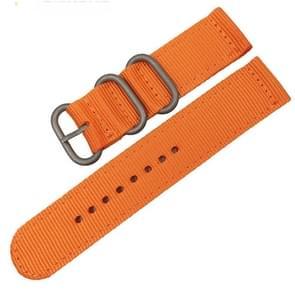 Wasbaar nylon canvas horlogeband  band breedte: 18mm (oranje met zilveren ring gesp)