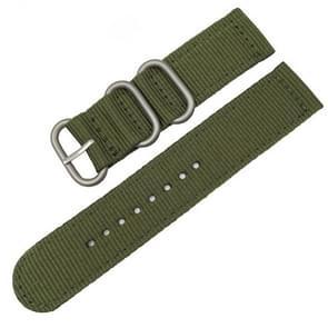 Wasbaar nylon canvas horlogeband  bandbreedte: 18mm (leger groen met zilveren ring gesp)