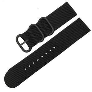 Wasbaar nylon canvas horlogeband  band breedte: 20mm (zwart met zwarte ring gesp)