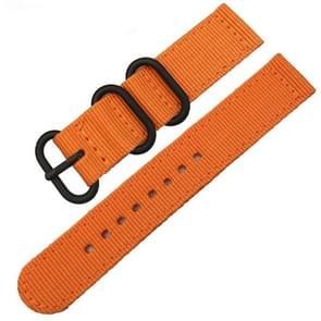 Wasbaar nylon canvas horlogebandje  band breedte: 20mm (oranje met zwarte ring gesp)