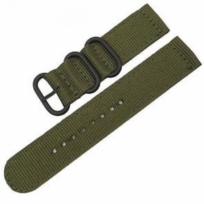 Wasbaar nylon canvas horlogeband  band breedte: 20mm (leger groen met zwarte ring gesp)