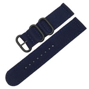 Wasbaar nylon canvas horlogeband  band breedte: 22mm (donkerblauw met zwarte ring gesp)