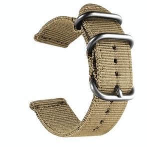 Wasbaar nylon canvas horlogeband  band breedte: 22mm (kaki met zilveren ring gesp)