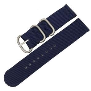 Wasbaar nylon canvas horlogeband  band breedte: 24mm (donkerblauw met zilveren ring gesp)