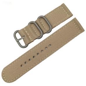 Wasbaar nylon canvas horlogeband  band breedte: 24mm (kaki met zilveren ring gesp)
