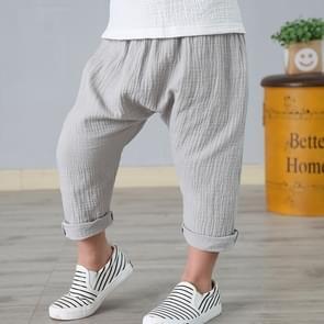 Summer Children Thin Cotton Linen Lanterns Ankle-length Pants, Size:120cm(Grey)
