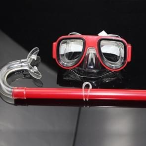 2 in 1 Summer Beach Swimming Snorkel + Duikbril set voor 2-8 jaar oude kinderen  grootte: one size(red)