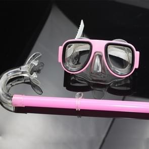 2 in 1 Summer Beach Swimming Snorkel + Duikbril Set voor 2-8 jaar oude kinderen  maat: one size(roze)