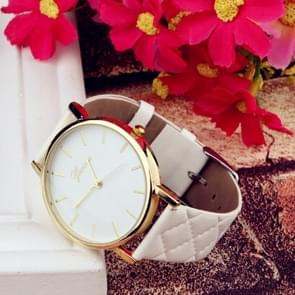 2 PCS Casual Simple Sofa Leather Quartz Couple Watch(White)