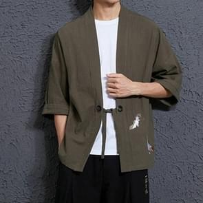 Mannen losse borduurwerk Hanfu gewaad Cardigan  grootte: 2XL (groen)