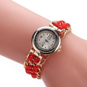 Sloggi 377 Women Knitting Rope Chain Quartz Wrist Watch(Red)