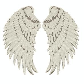 Gold A Pair Sequin Feather Wing Shape Clothing Patch Sticker DIY Clothing Accessories, Size:Middle 26.5 x 26cm