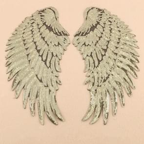 Gold A Pair Sequin Feather Wing Shape Clothing Patch Sticker DIY Clothing Accessories, Size:Large 33.5 x 32cm
