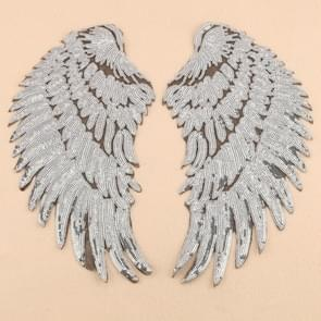 Silver A Pair Sequin Feather Wing Shape Clothing Patch Sticker DIY Clothing Accessories, Size:Middle 26.5 x 26cm