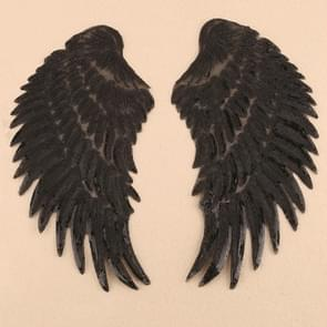 Black A Pair Sequin Feather Wing Shape Clothing Patch Sticker DIY Clothing Accessories, Size:Small 20.5 x 10cm
