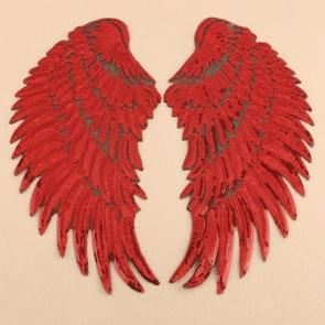 Red A Pair Sequin Feather Wing Shape Clothing Patch Sticker DIY Clothing Accessories, Size:Small 20.5 x 10cm