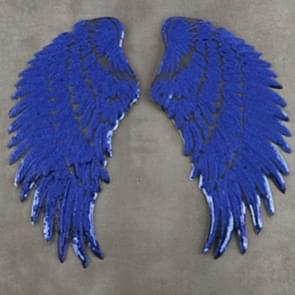 Royal Blue A Pair Sequin Feather Wing Shape Clothing Patch Sticker DIY Clothing Accessories, Size:Small 20.5 x 10cm