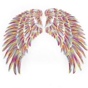 Magische kleur een paar Sequin Feather Wing vorm kleding patch sticker DIY kleding accessoires  grootte: midden 26 5 x 26cm