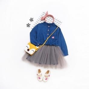 Spring and Summer Girls Long-sleeved Denim Stitching Mesh Dress, Size:90cm(Embroidered Dark Blue)