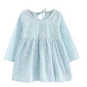 Girl Dress Children Dress Girls Long Sleeve Plaid Dress Soft Cotton Summer Princess Dresses Baby Girls Clothes, Size:120cm(Blue Stars)