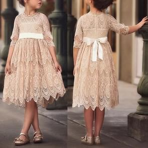 Girls Lace Round Neck Dress Bow Tie Princess Dress, Size:130cm(Style Three)