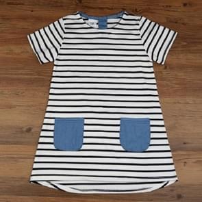 Girls Blue Striped Denim Pocket Short Sleeve Dress, Size:90cm(White)