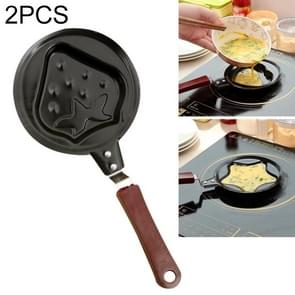 2 PCS B650417 Cute Cartoon Shaped Egg Mould Pans Nonstick Stainless Mini Breakfast Egg Frying Pans(Strawberry)