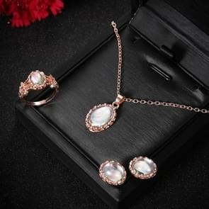Women Opal Necklace Earrings Ring Crystal Jewelry Set