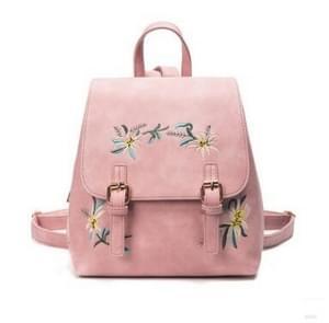 Embroidered Backpack PU Leather Ethnic Wind Shoulder Pack Backpacks(Pink)