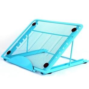 Portable Desktop Folding Cooling Metal Mesh Adjustable Ventilated Holder(Blue)