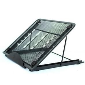 Portable Desktop Folding Cooling Metal Mesh Adjustable Ventilated Holder(Black)