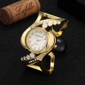WAT1140 Women Bangle Wristwatch Quartz Crystal Rhinestone Watch(Gold)