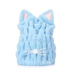 Koraal fleece zacht absorberend kat oor droog haar GLB verdikte volwassen douche dop (blauw)