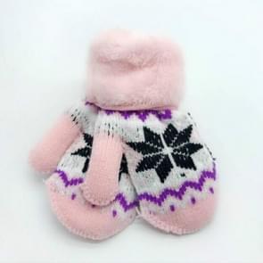 Winter kinderen Snowflake patroon plus fluweel dikke warme gebreide wollen wanten  één paar (roze)