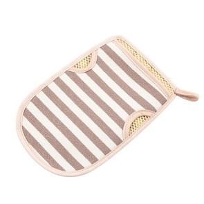 2 PCS Bath Shower Gloves Body Skin Exfoliating SPA Massage Mitt Body Scrubber Glove(Big Strips Khaki)