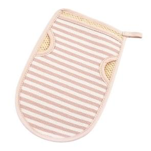2 PCS Bath Shower Gloves Body Skin Exfoliating SPA Massage Mitt Body Scrubber Glove(Small Strips Khaki)