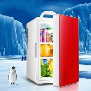 Cabinet Type Car Home Dual-purpose 16-liter Warme en koude kleine koelkast  stijl: Dual-core Rode Deur (CN Plug)