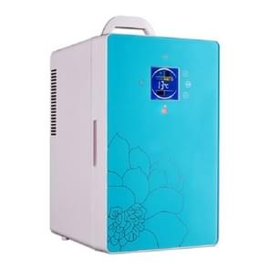 Cabinet Type Car Home Dual-purpose 16-liter Hot and Cold Small Refrigerator  Style:Digital Display Blue(CN Plug)