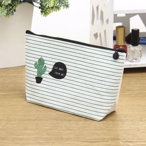 Small Fresh Cactus Cosmetic Bag Multi-Functional Canvas Hand Storage Bag Toiletry Storage Box(One  cactus)
