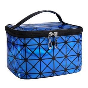 3D Laser Large Capacity Square Portable Cosmetic Bag Travel Storage Bag Waterproof Wash Bag(Blue)