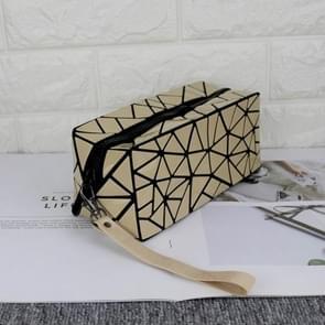 Laser Foldable Geometry Lingge Waterproof Portable Lady Cosmetic Bag Girl Portable Large Capacity(Khaki)